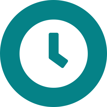 White clock icon on teal circle background