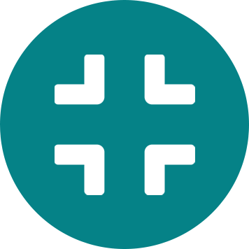 White compress icon in teal circle