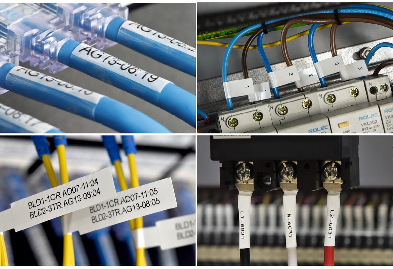 Fire billeder af Brother-labels i anvendelse på kabler