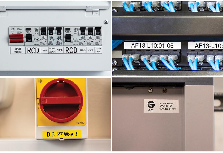 Netværksporte på et panel med stærkt laminerende tape