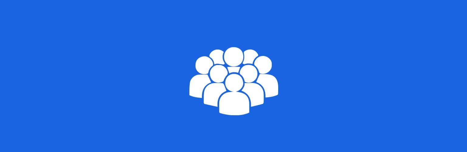 blå firkant med hvide mennesker ikon