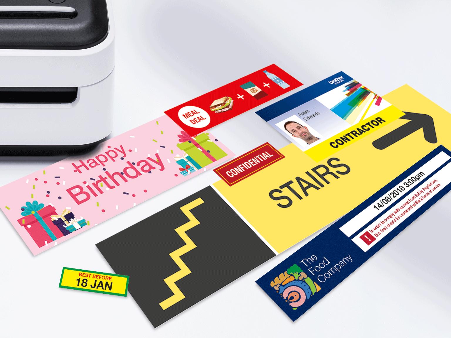 Printede labels i flere farver