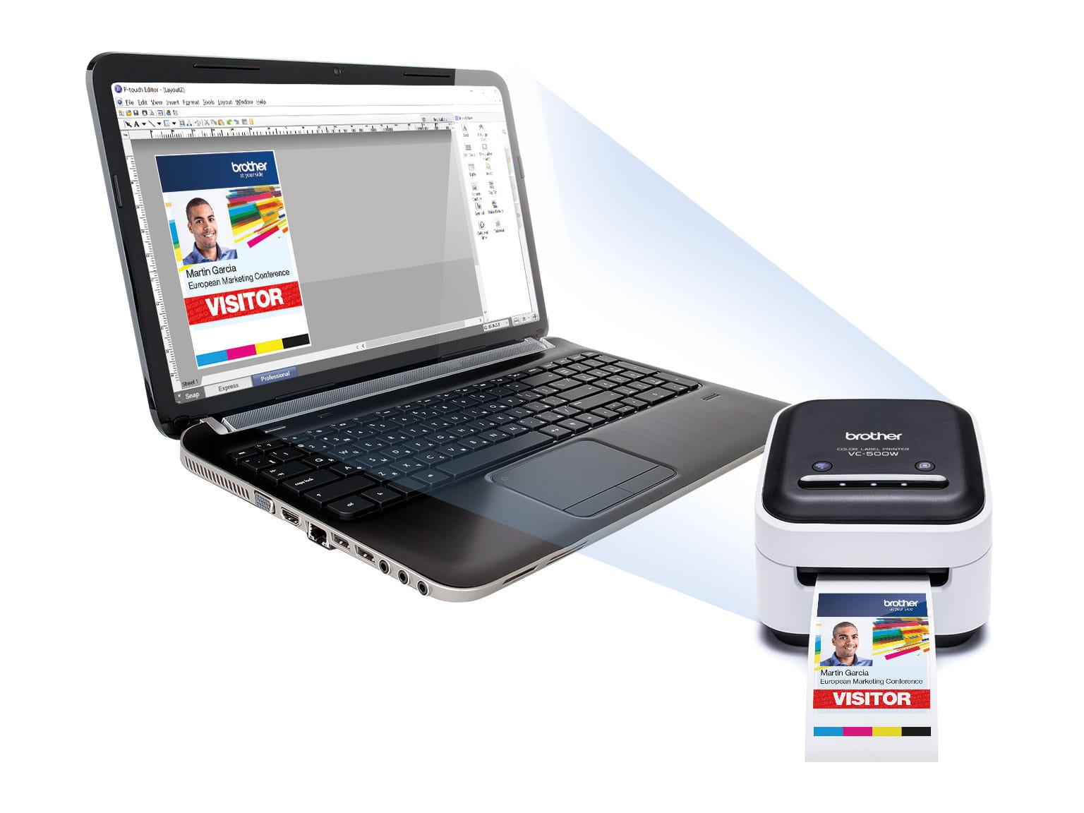 VC-500W farvelabelprinter og bærbar computer