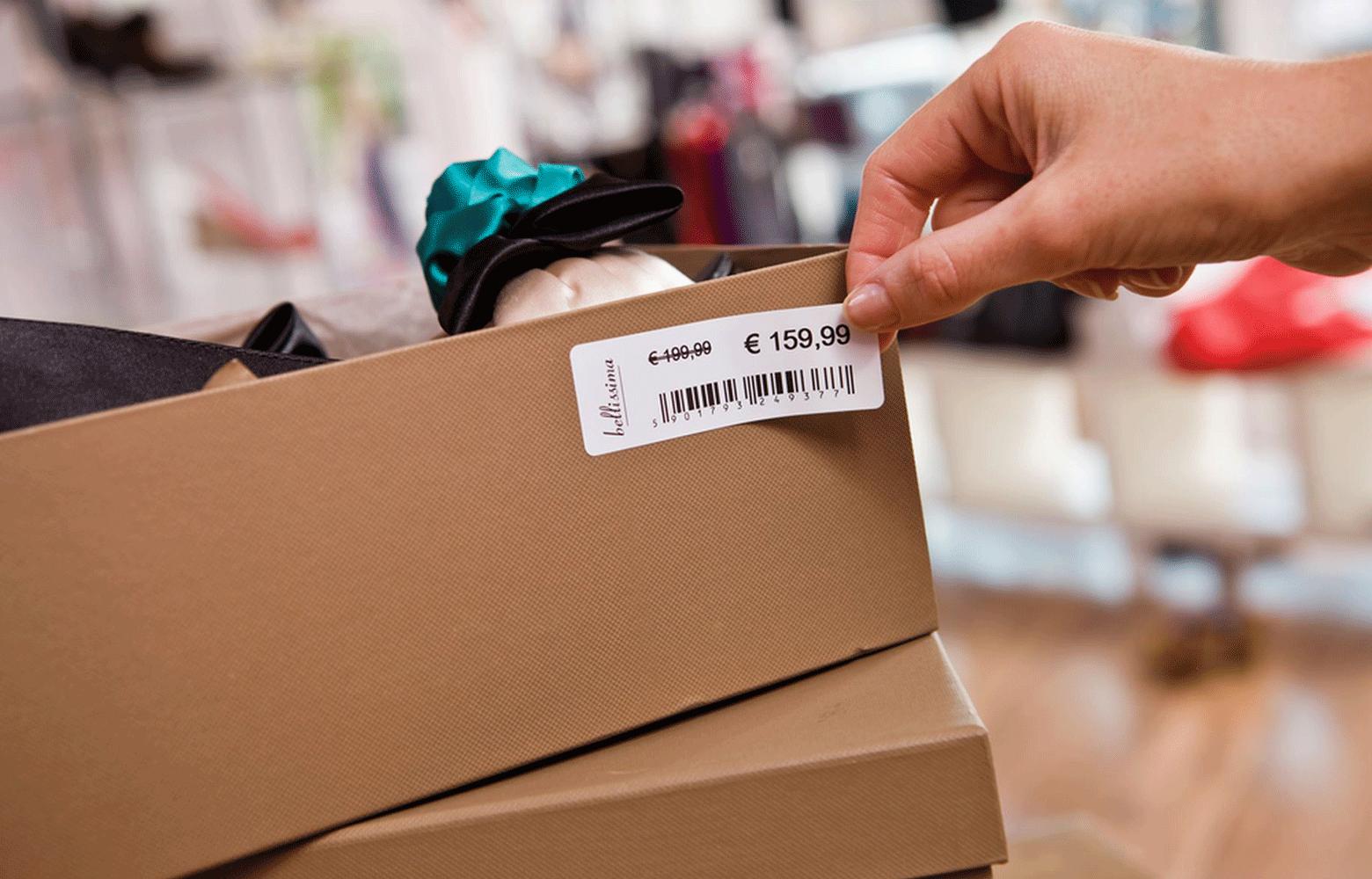 Label på kasse