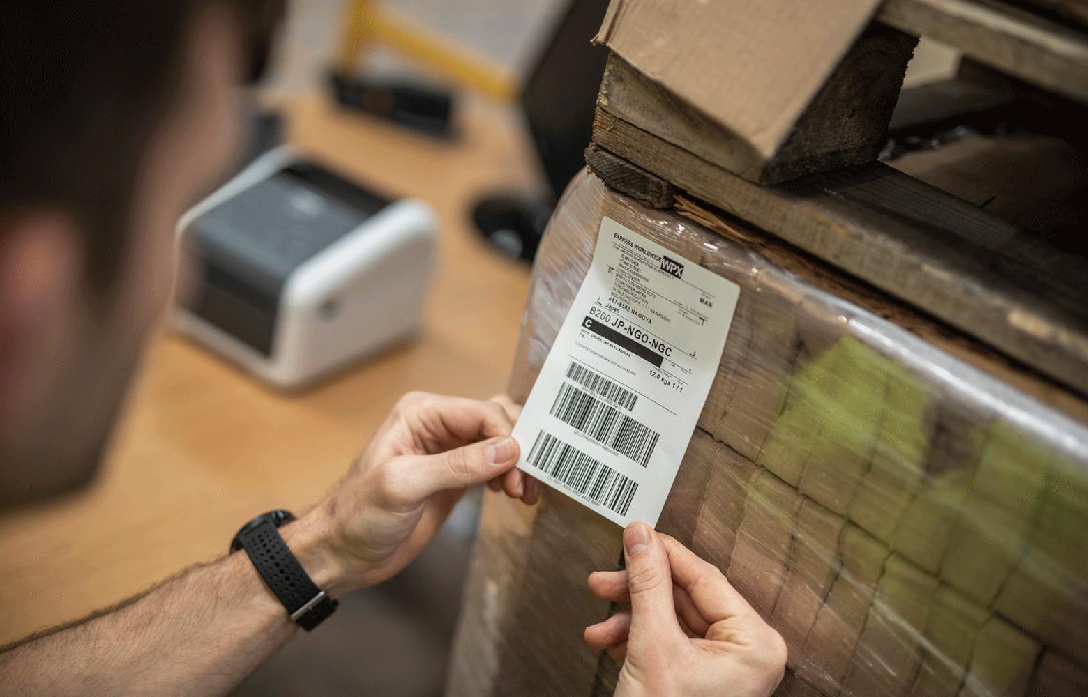 Label på palle med varer