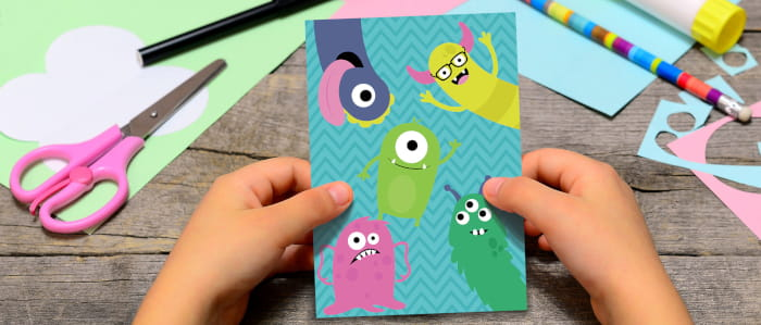 Card with monsters