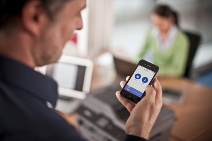 iPrint&Scan used by man on smartphone