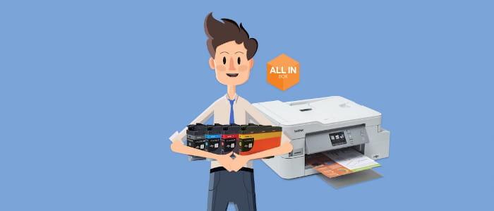011 - All in Box - man holding printer