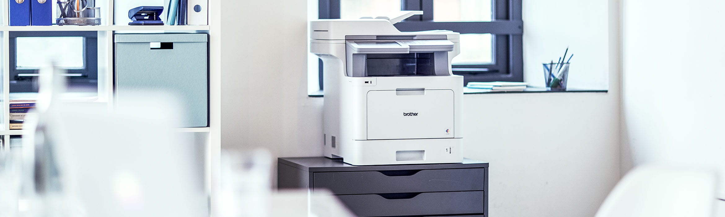 image shows a printer powered by managed print services