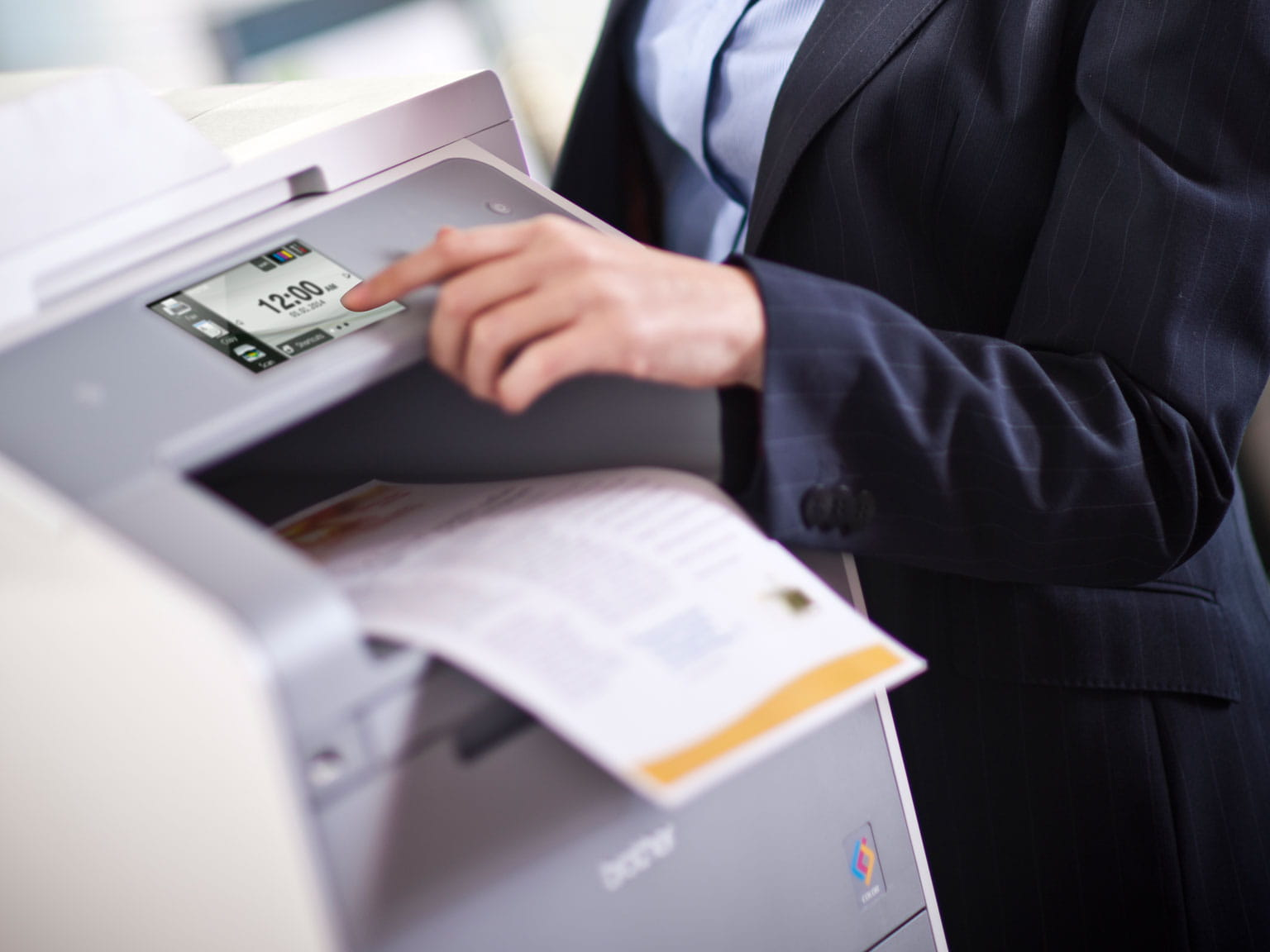 Person using a Brother printer