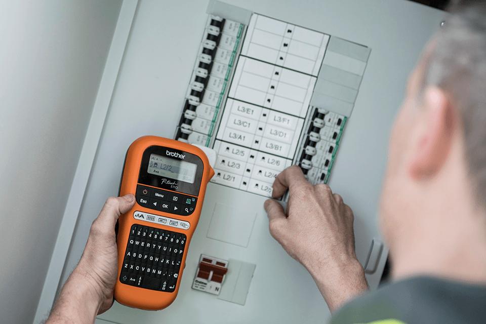 PT-E110VP labelprinter til elektrikere 6