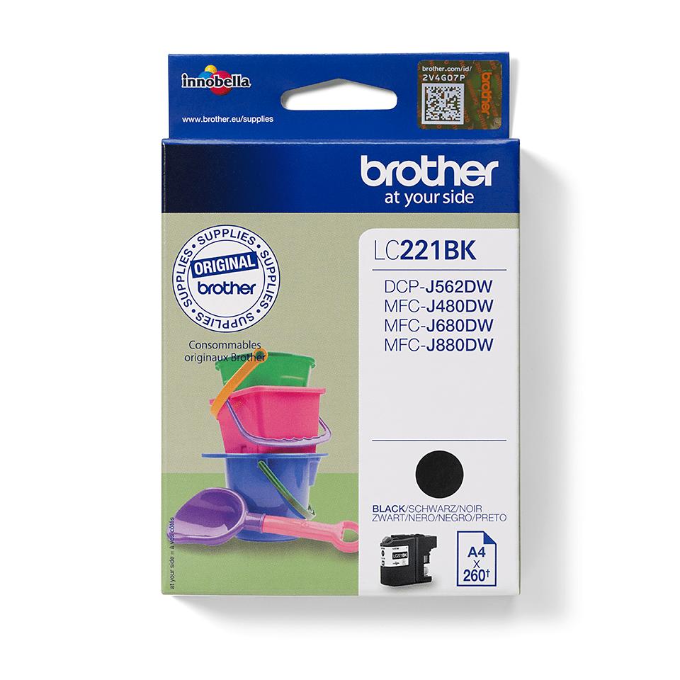 Original Brother LC221BK blækpatron – sort
