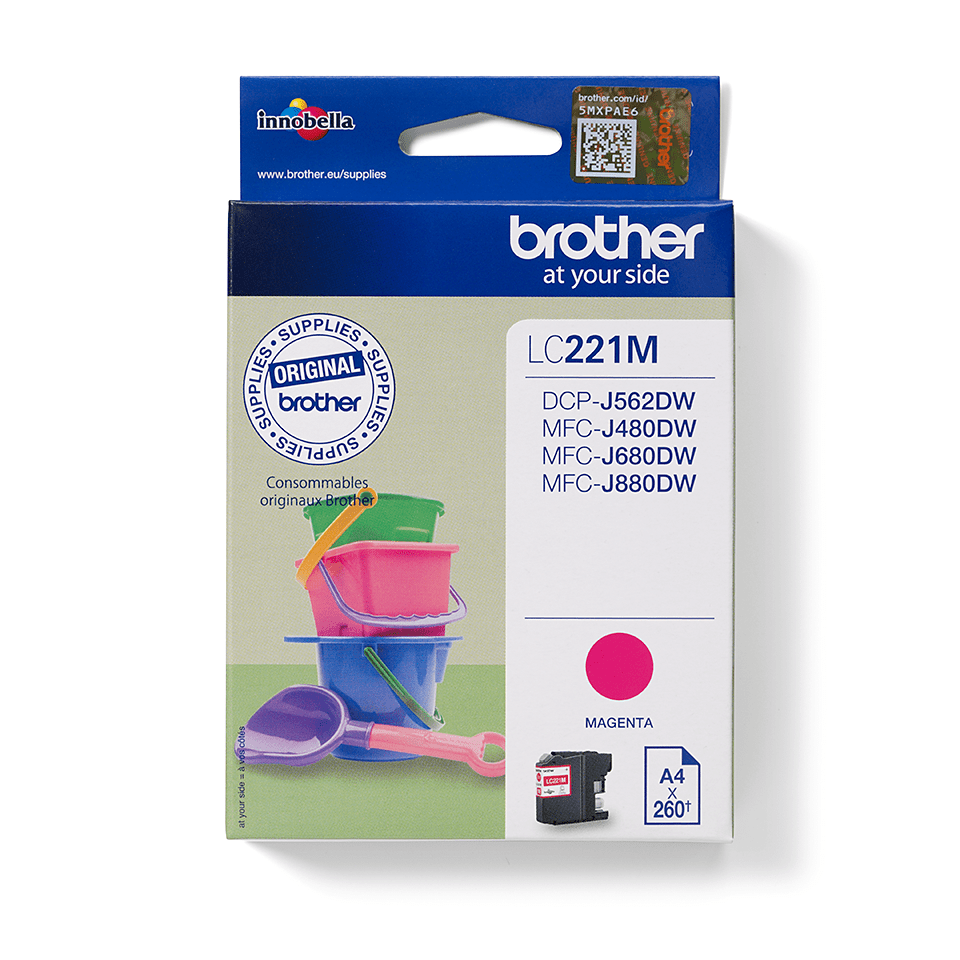 Original Brother LC221M blækpatron – Magenta