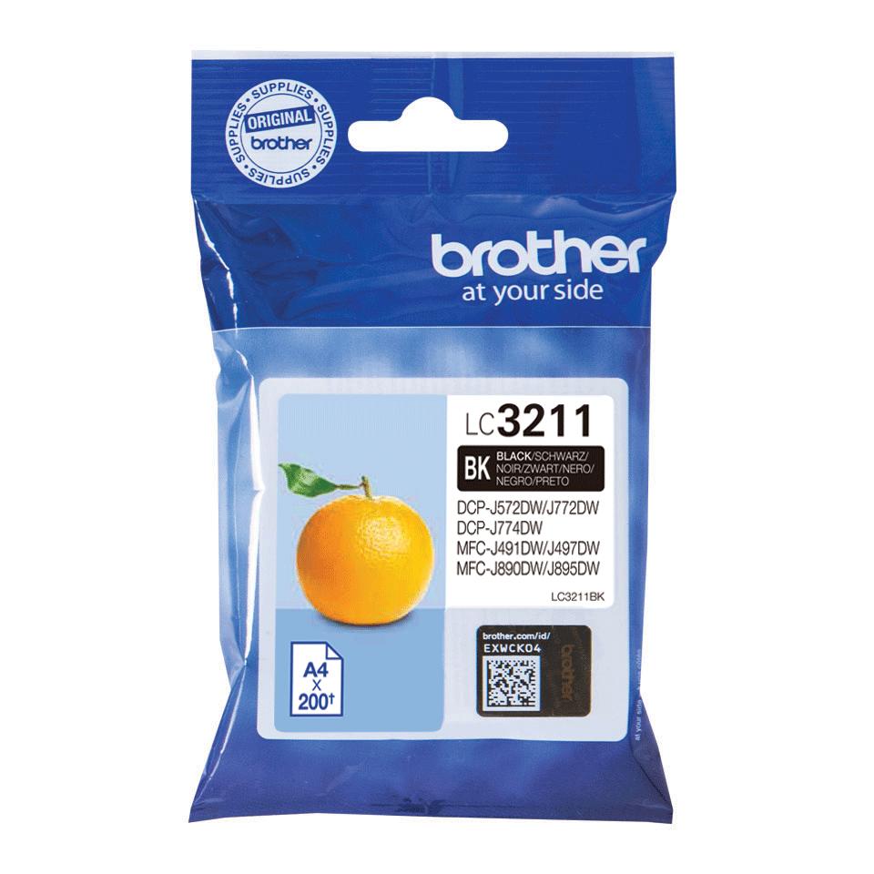 Original Brother LC3211BK sort blækpatron
