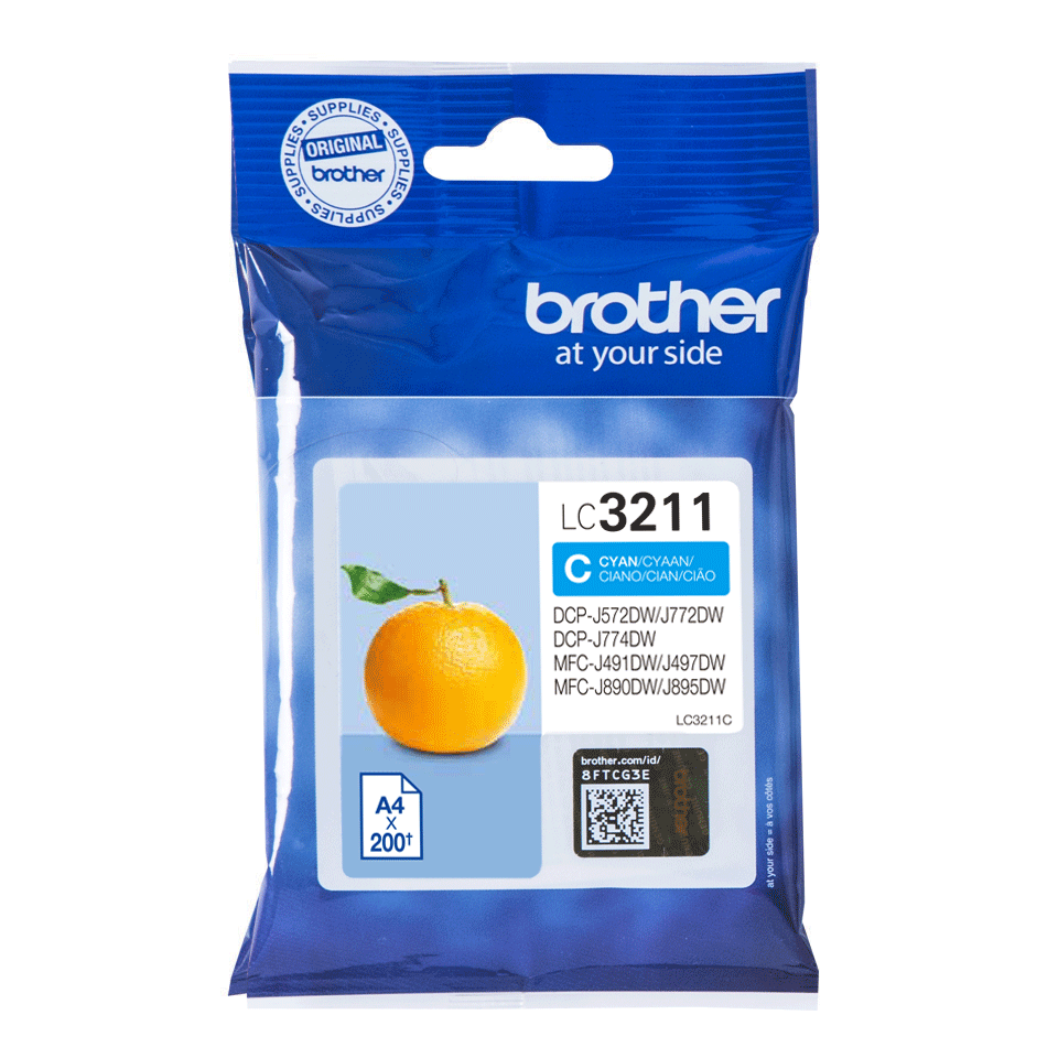Original Brother LC3211C cyan blækpatron
