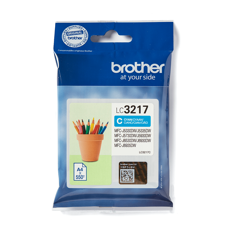 Original Brother LC3217C cyan blækpatron