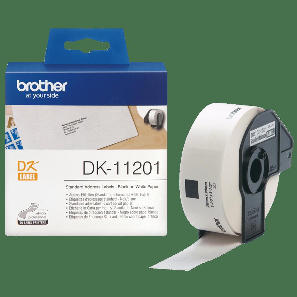 Original Brother DK11201 labelrulle – sort på hvid, 29 mm x 90 mm 3