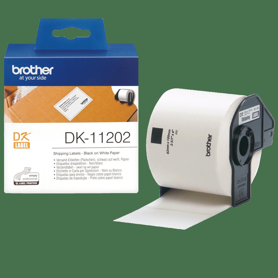 Original Brother DK-11202 rulle med fragtlabels – sort på hvid, 62 mm x 100 mm 3