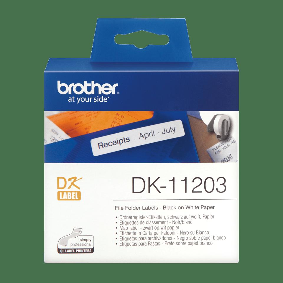 Original Brother DK11203 label til arkivmapper– sort på hvid, 17 mm x 87 mm