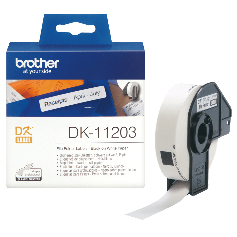 Original Brother DK11203 label til arkivmapper– sort på hvid, 17 mm x 87 mm 3