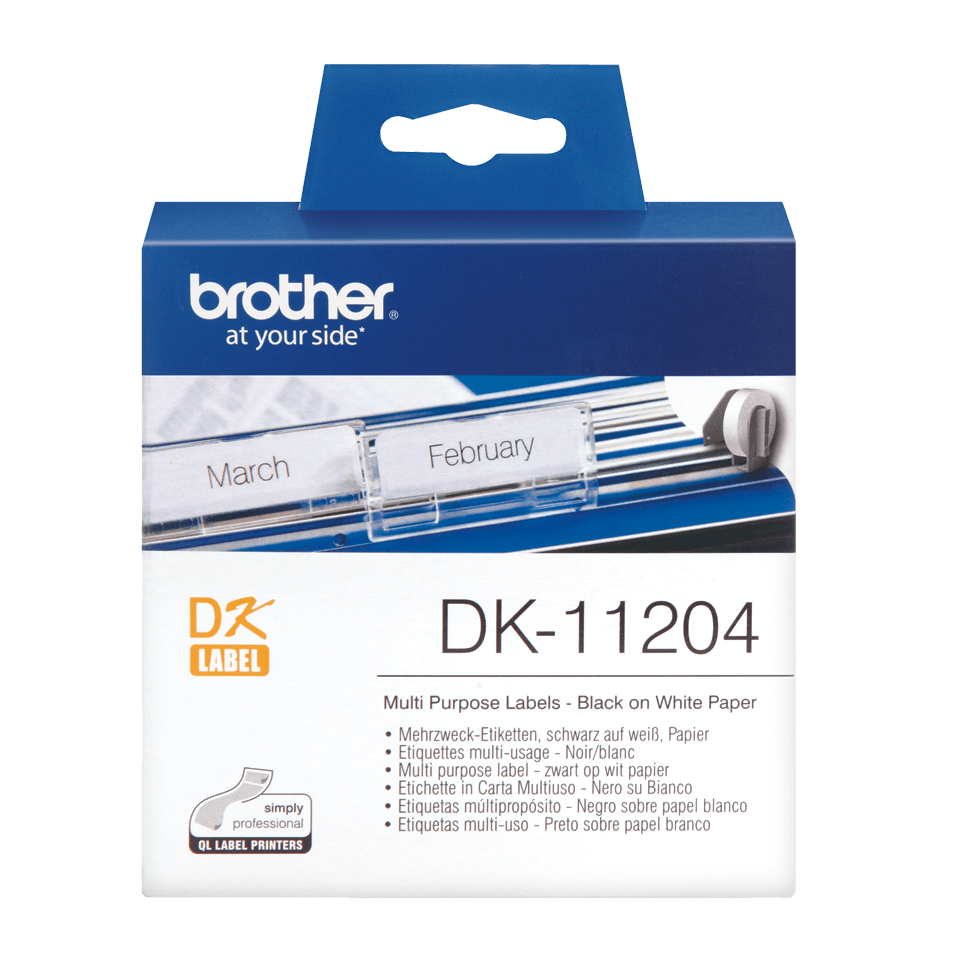 Original Brother DK11204 multi label – sort på hvid, 17 mm x 54 mm