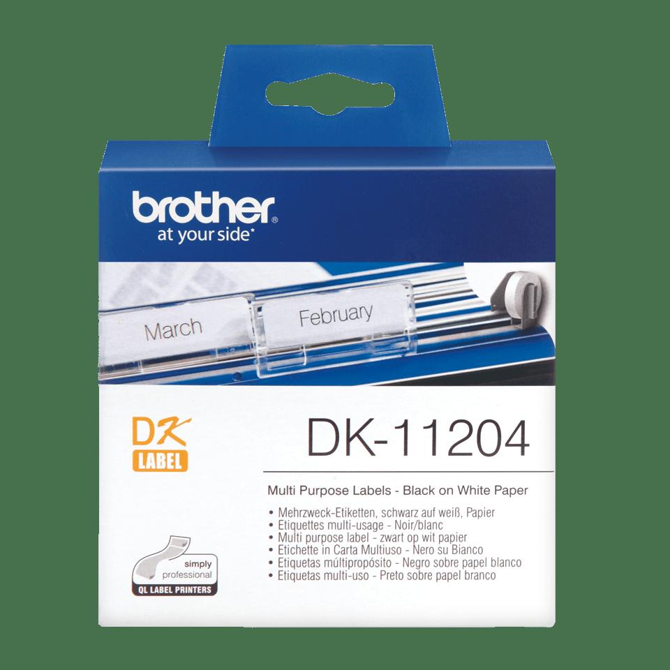 Original Brother DK11204 multi label – sort på hvid, 17 mm x 54 mm