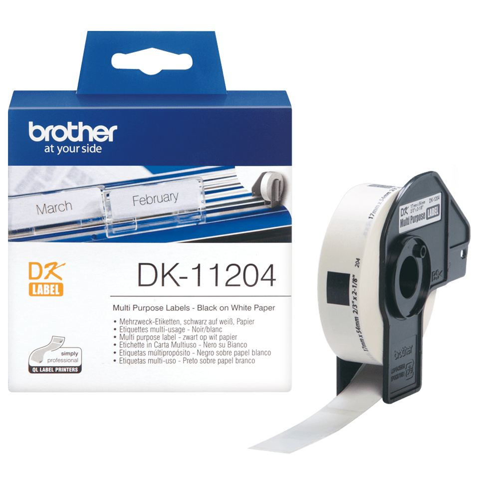 Original Brother DK11204 multi label – sort på hvid, 17 mm x 54 mm 3