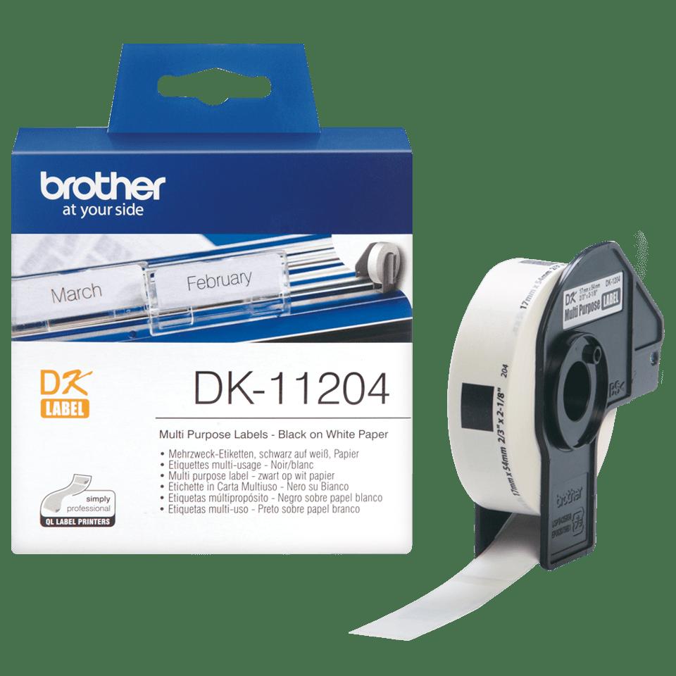 Original Brother DK11204 multi label – sort på hvid, 17 mm x 54 mm 3