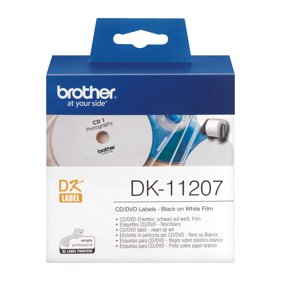 Original Brother DK11207 CD/DVD filmlabel – sort på hvid, 58 mm i diameter