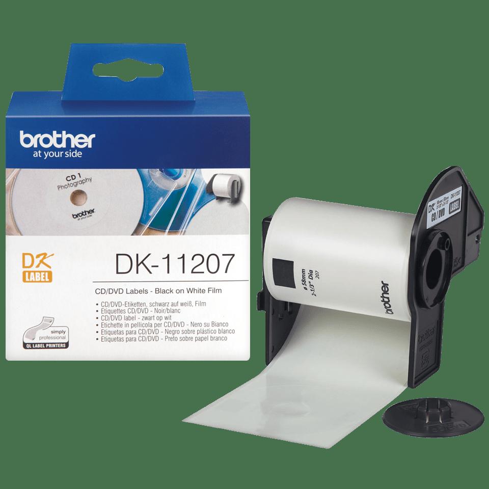 Original Brother DK11207 CD/DVD filmlabel – sort på hvid, 58 mm i diameter 3