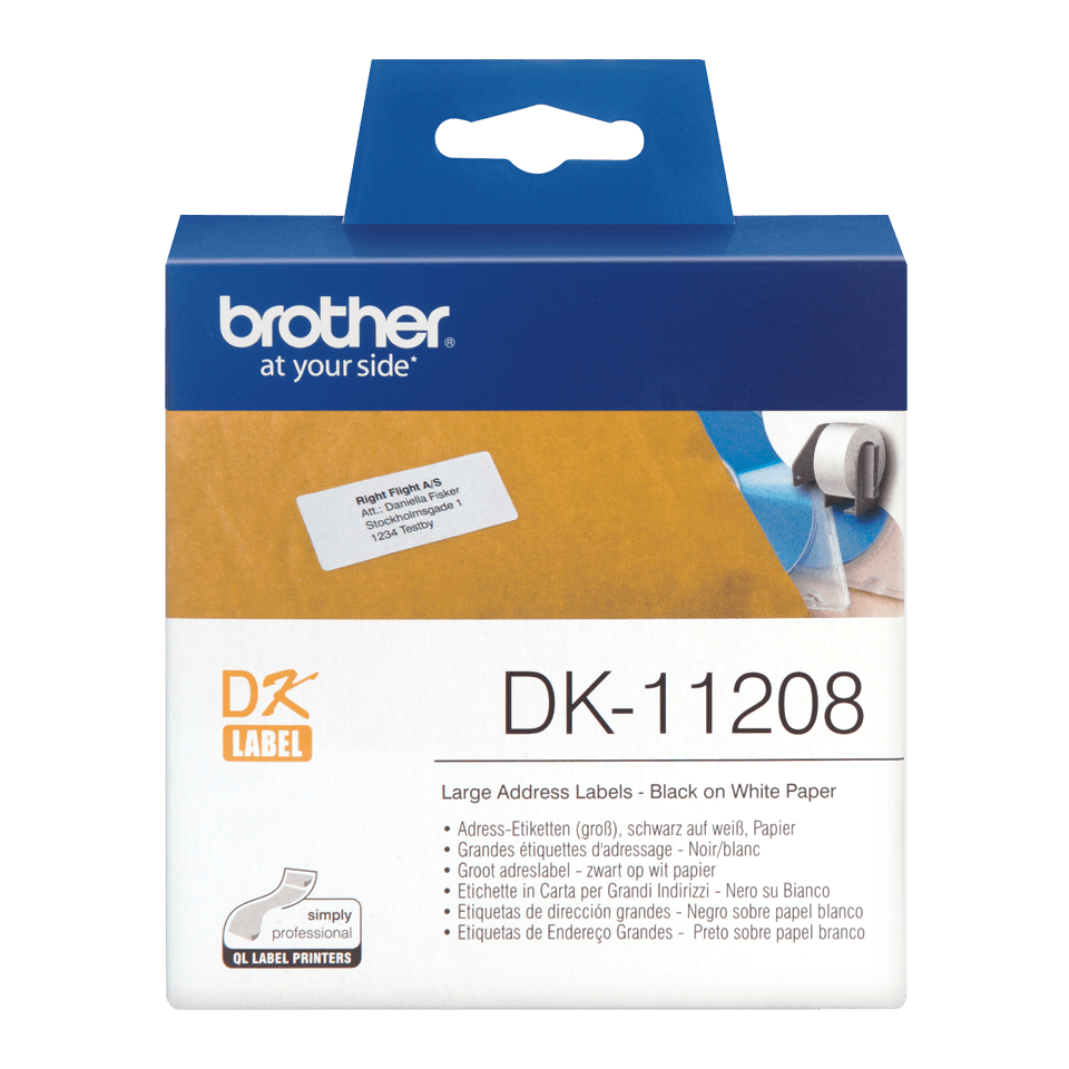 Original Brother DK11208 label – sort på hvid, 38 mm x 90 mm