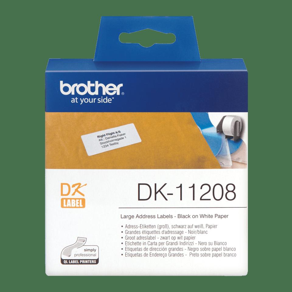 Original Brother DK11208 label – sort på hvid, 38 mm x 90 mm