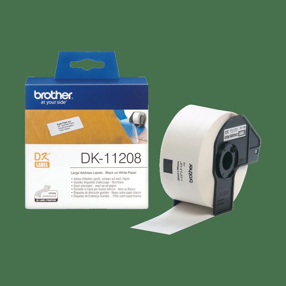 Original Brother DK11208 label – sort på hvid, 38 mm x 90 mm 3