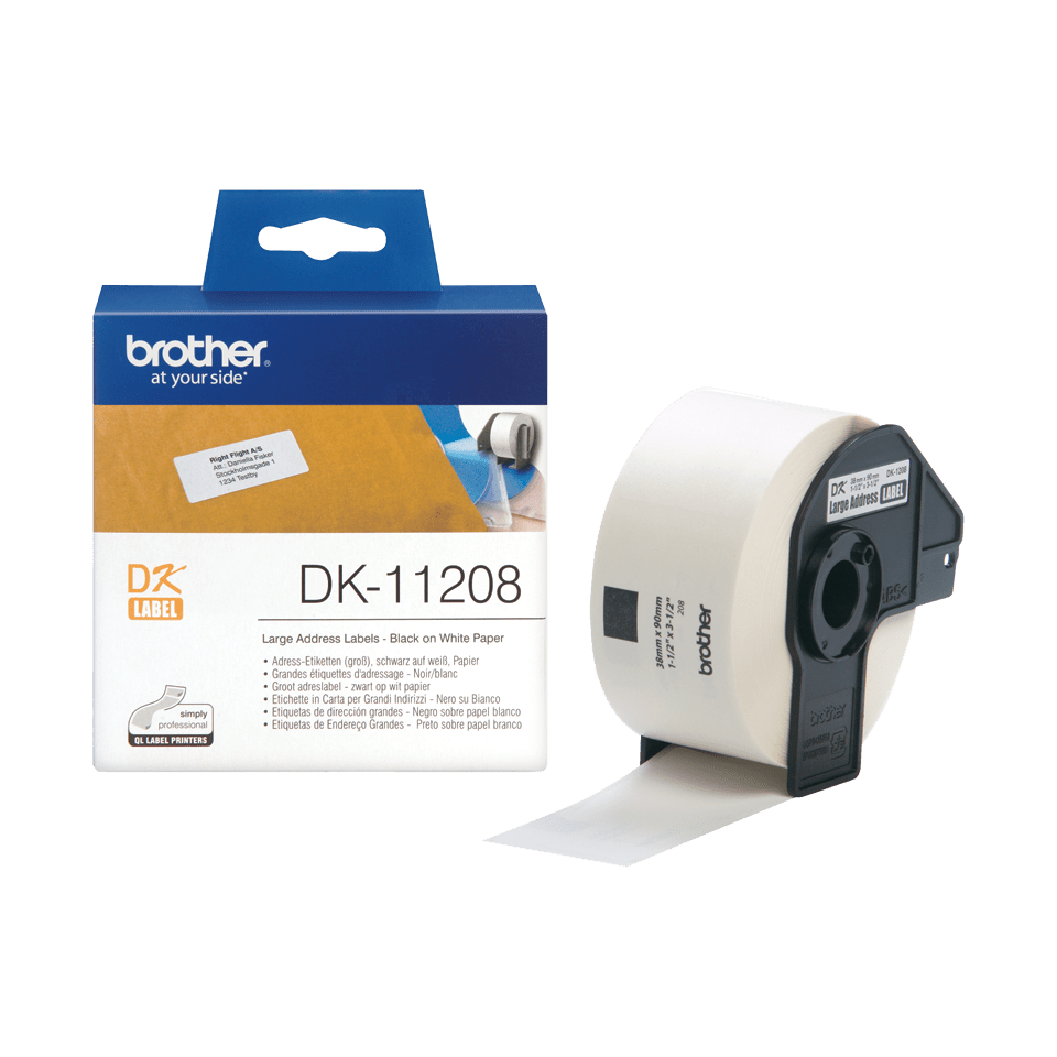 Original Brother DK11208 label – sort på hvid, 38 mm x 90 mm 3