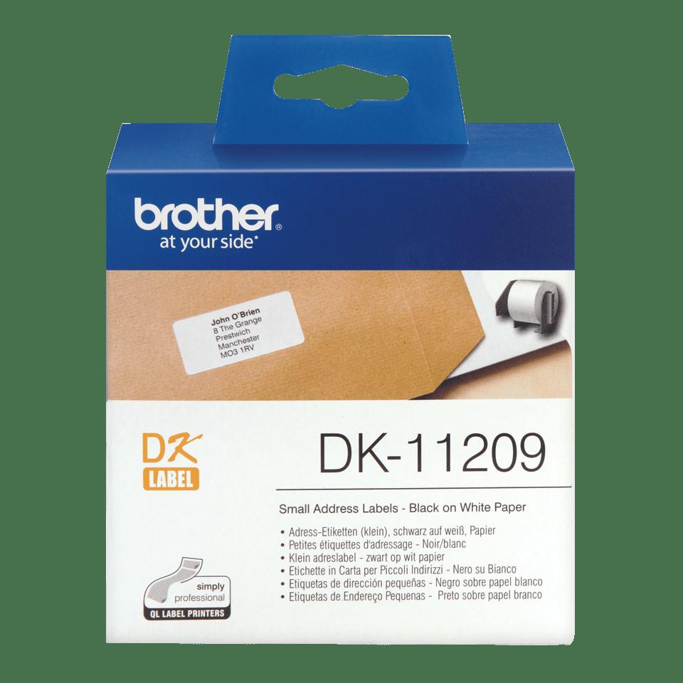 Original Brother DK-11209 udstansede adresse labelrulle – sort på hvid, 29 mm x 62 mm