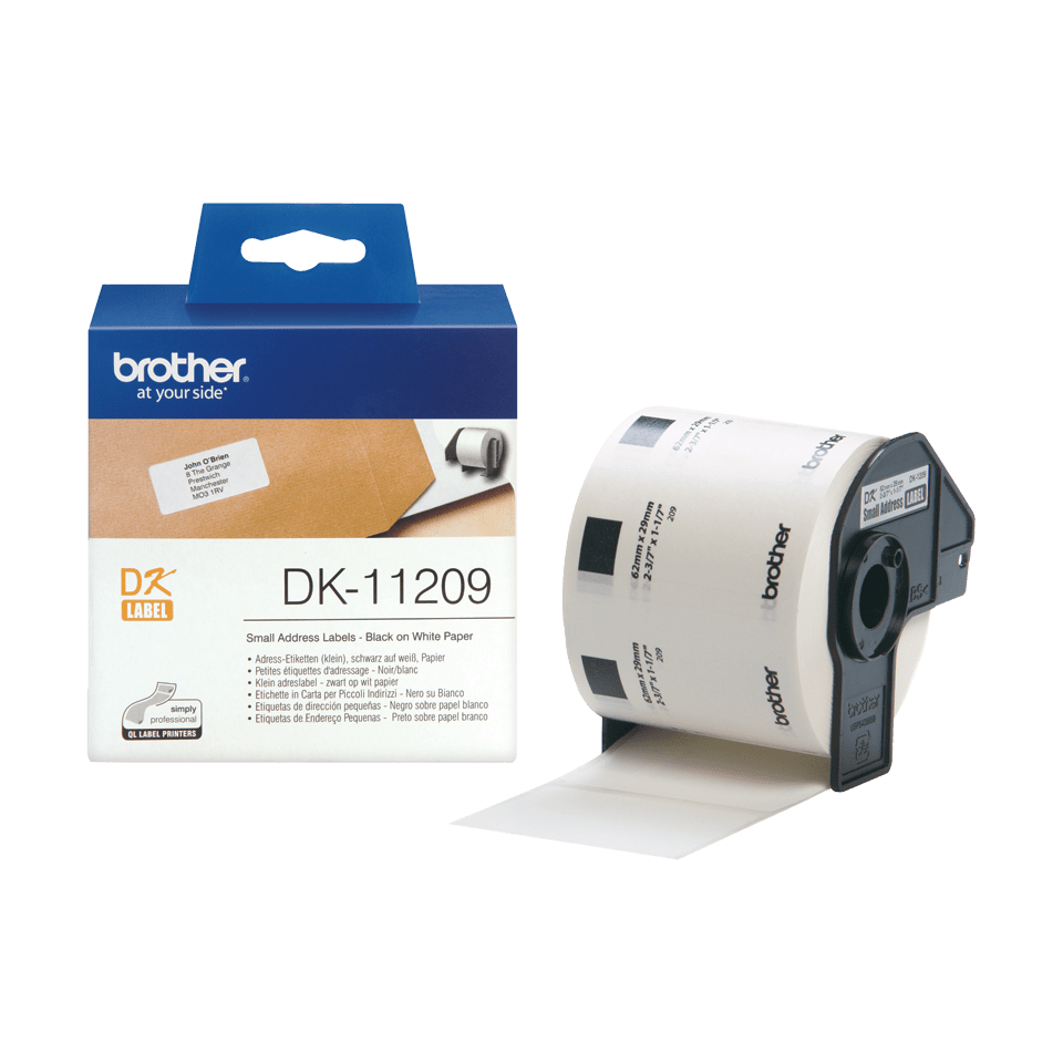 Original Brother DK-11209 udstansede adresse labelrulle – sort på hvid, 29 mm x 62 mm 3