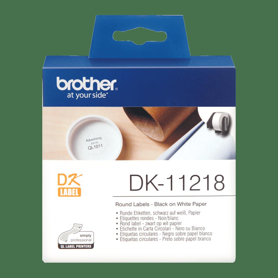 Original Brother DK11218 rund label – sort på hvid, Ø 24 mm