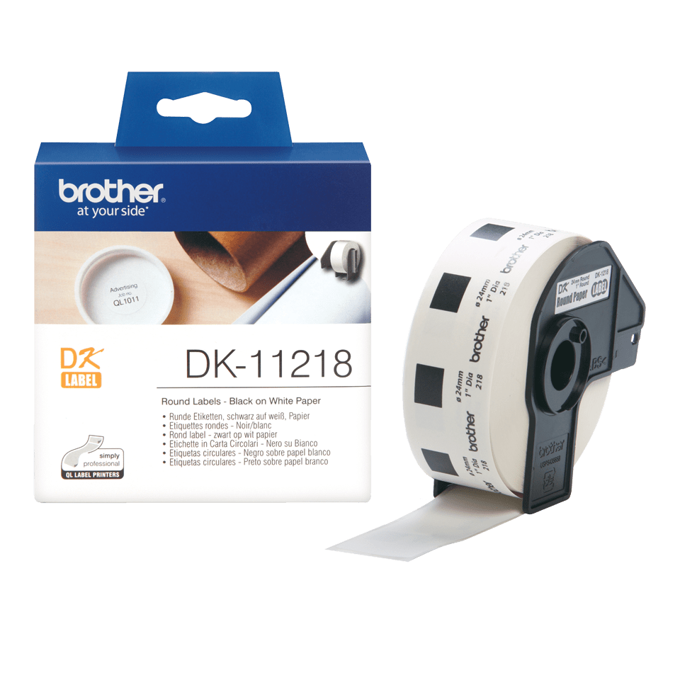 Original Brother DK11218 rund label – sort på hvid, Ø 24 mm 3