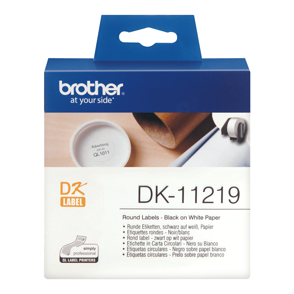 Original Brother DK11219 rund label – sort på hvid, Ø 12 mm