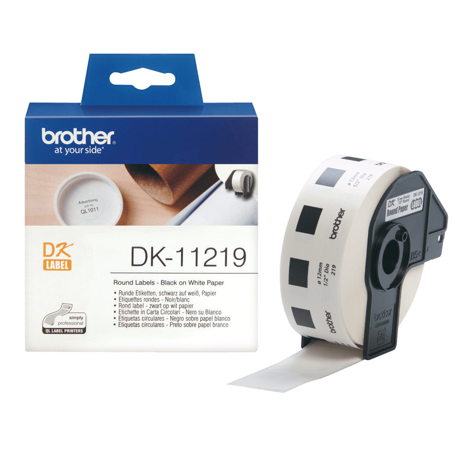 Original Brother DK11219 rund label – sort på hvid, Ø 12 mm 3