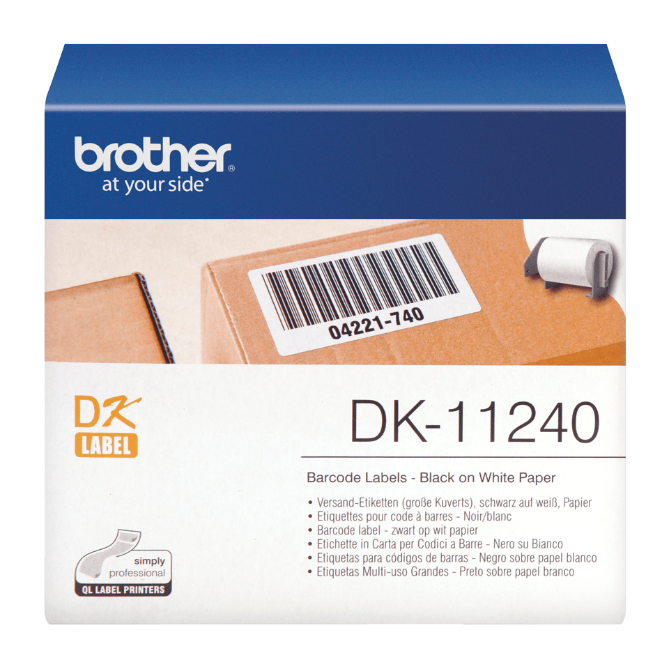 Original Brother DK11240 label til stregkoder – sort på hvid, 102 mm x 50 mm