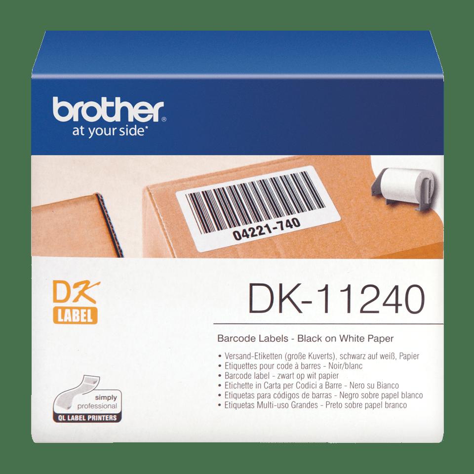Original Brother DK11240 label til stregkoder – sort på hvid, 102 mm x 50 mm