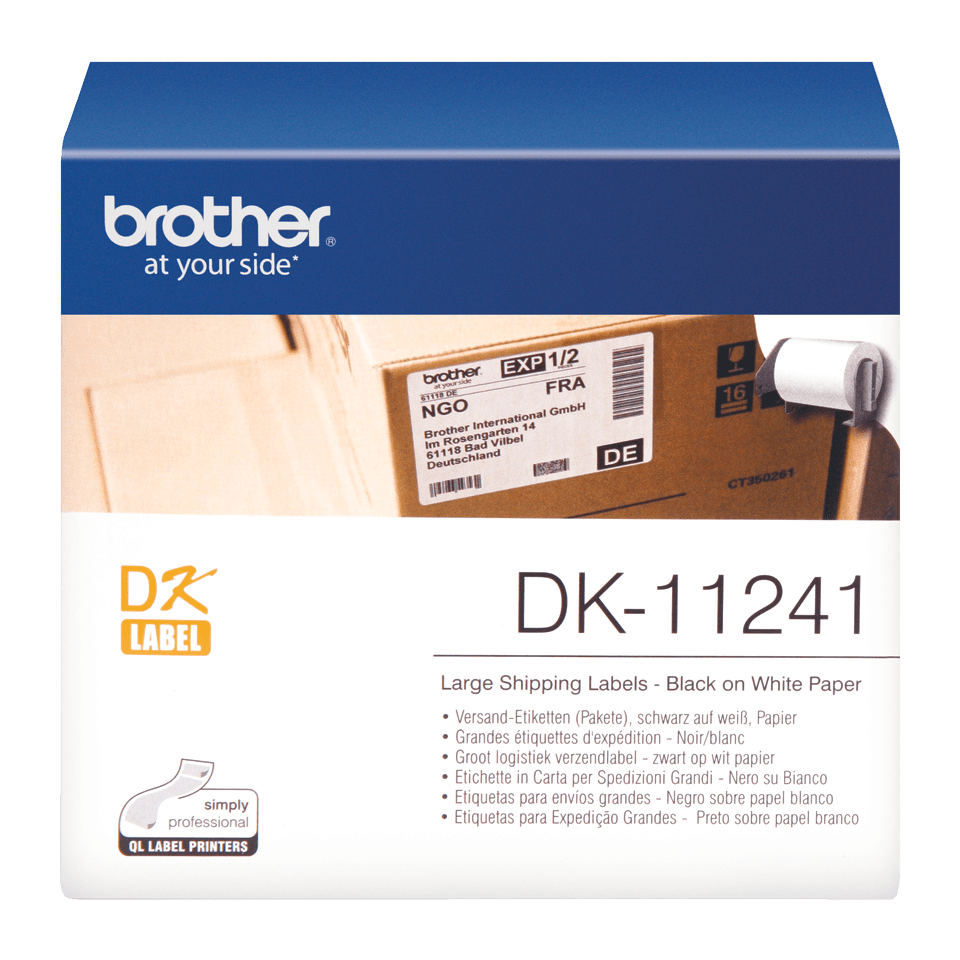 Original Brother DK11241 fragtlabel – sort på hvid, 102 mm x 152 mm