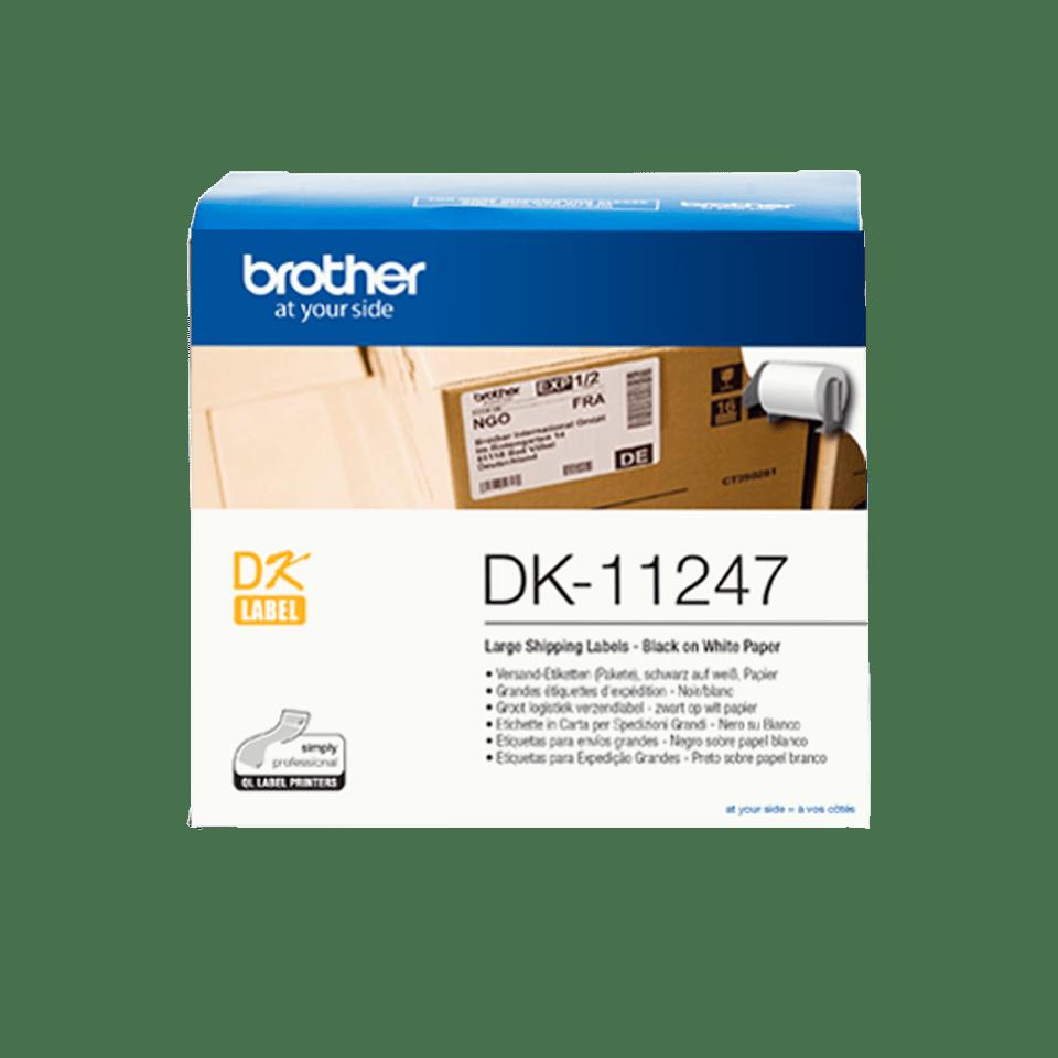 Original Brother DK-11247 udstansede labels – sort på hvid, 103 mm x 164 mm