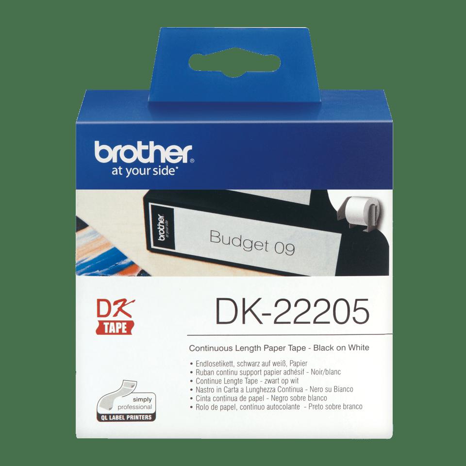 Original Brother DK22205 DK-labels i endeløs bane – sort på hvid, 62 mm bred