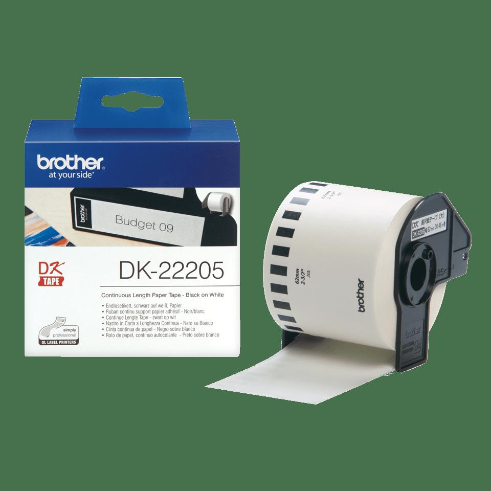 Original Brother DK22205 DK-labels i endeløs bane – sort på hvid, 62 mm bred 3
