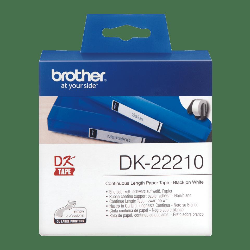 Original Brother DK22210 papirtape, endeløs bane – sort på hvid