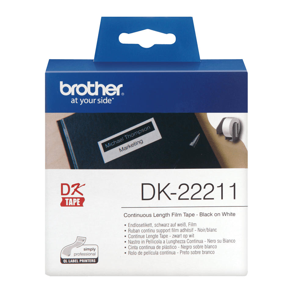 Original Brother DK22211 labelrulle – hvid, 29 mm x 15,24 m