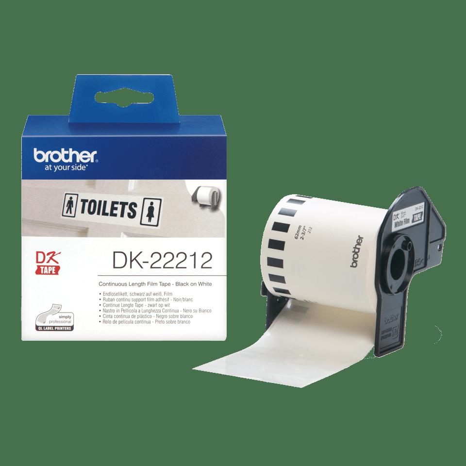 Original Brother DK22212 filmlabelrulle i endeløs bane – sort på hvid, 62 mm. 3