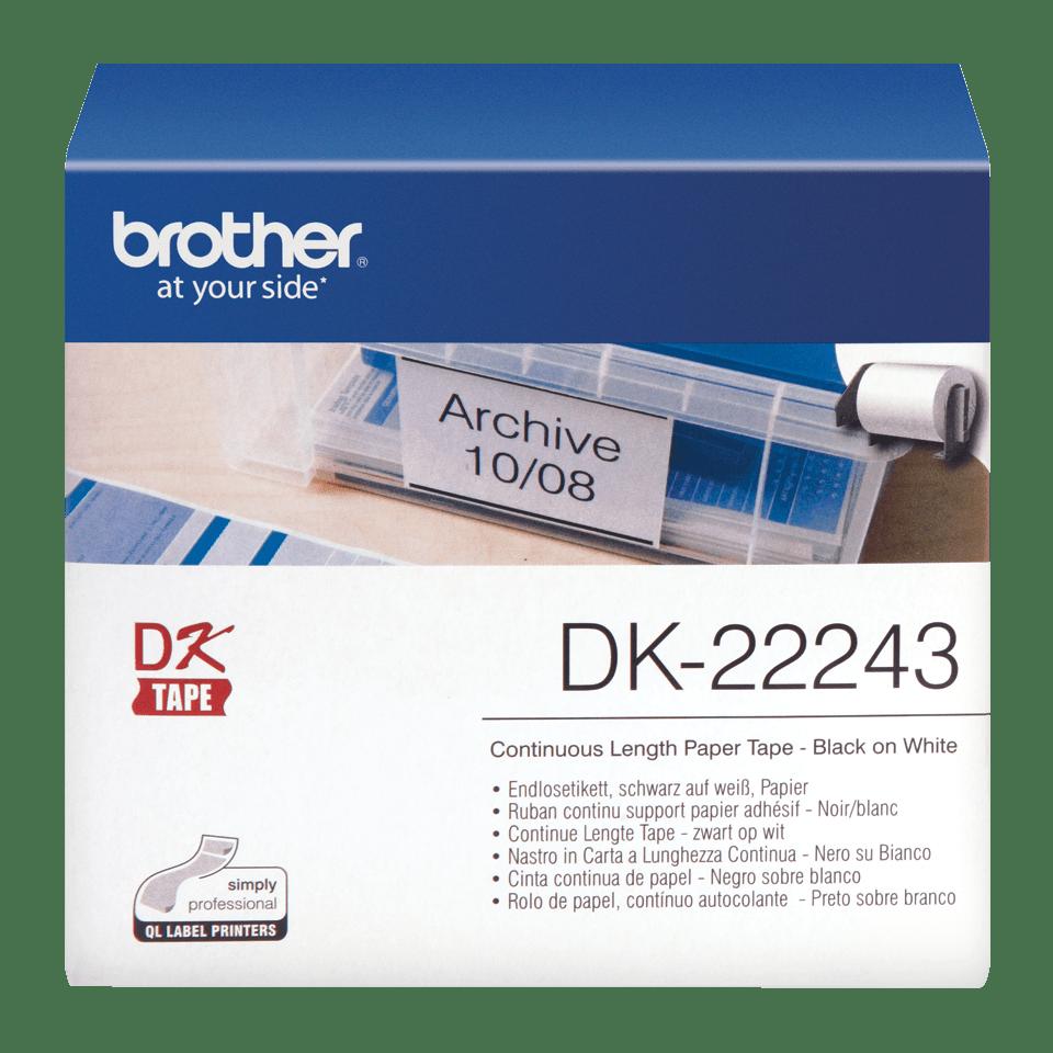 Original Brother DK22243 papirtape, endeløs bane – sort på hvid, 102 mm bred